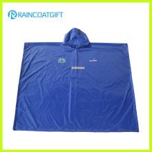 Blue Polyester PVC Reflective Rain Poncho Rbc-028