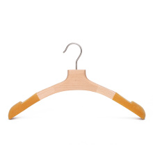 Luxury Fashion Store Display Wooden Clothes Hanger with Flocked Shoulder