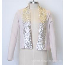 100% coton Nouvelle veste en maille tricotée à la mode de couleur pure aux paillettes