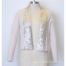 100%Cotton New Pure Color Women Knit Open Cardigan with Sequins