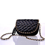 Black Quilted Chain Strap Shoulder Bag With Studs , Banquet Ladies Shoulder Bags