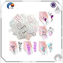 Diseño colorido de larga duración para tatuajes de piel de uñas pelar pegatina
