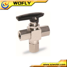 manual operating three way npt female thread male ball valve