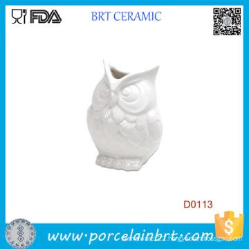 New White Abbott Owel Ceramic Vase Flower