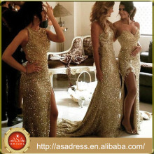WD-20 Convertible Custom Made Sequin Golden Formal Bridesmaid Dress Party Gowns Long Gold Evening Gowns 2017