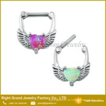 Chirurgenstahl Herzform Weiß Opal Septum Ohrring Knorpel Clicker