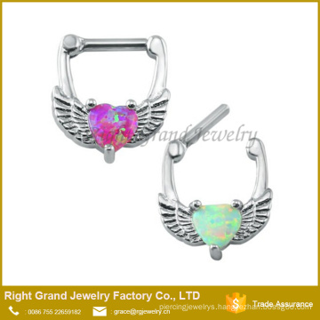 Surgical Steel Heart Shape White Opal Septum Earring Cartilage Clicker