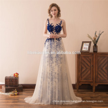 2018 Latest Beaded sleeveless Design Blue Evening Dress Long Made In China