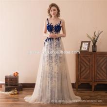2018 последний вышитый бисером без рукавов дизайн синий вечернее платье с длинным Сделано в Китае