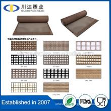 China manufacturer PTFE coated fiber glass mesh with high density, tfe teflon coated fiberglass mesh conveyor belt,