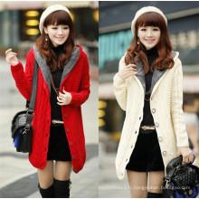 Dernier manteau de femme en tricot hiver avec capuche
