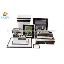 11 pcs natural Pen shell mosaico hotel quarto amenidades tecido cobrir bandeja saboneteira