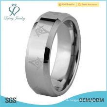 8mm Laser geätztes Freimaurersymbol festes Wolframkarbid Hochzeitsband Verlobungsring