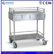 Carros de tratamiento de hospital de acero inoxidable multifunción