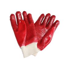 Guantes de trabajo completamente sumergidos de PVC rojo