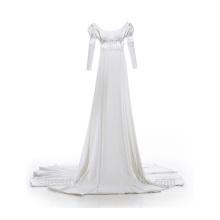 Astergarden scoop neckline robe de mariée A-ligne bretelles sans manches roffle robe de mariée TS214