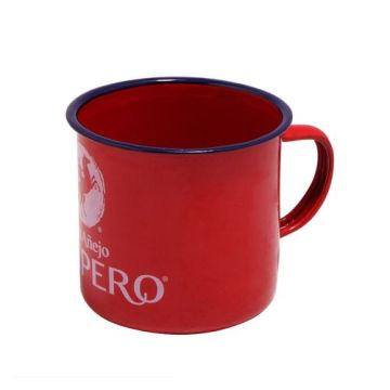 Blue Rim Enamel Mug Cup with Vintage Style Retro