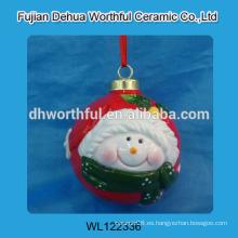 Fabulosa percha de cerámica hecha a mano de Navidad con diseño de muñeco de nieve