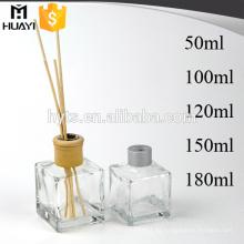 Botella de cristal del difusor de lámina del aroma del vidrio del perfume CALIENTE para ambientador