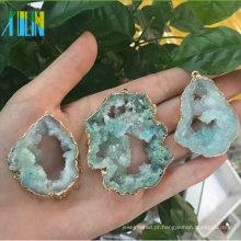 Pingentes druzy cor natural de fatia de ágata