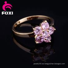 Diseño de flores de oro de fantasía anillo de dedo