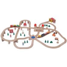 110pcs trem de madeira trem de brinquedo
