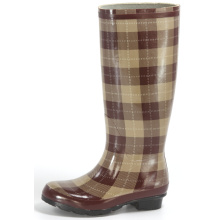 Women's Big Brown Grid Printing Rubber Rain Boots