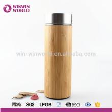 Tasse de thermos en bambou naturel inoxidable fait sur commande libre de BPA