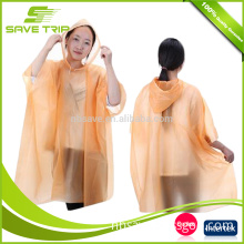 Amazon Hot Selling 2017 Promotional Disposable PE Raincoat with Cape Rope