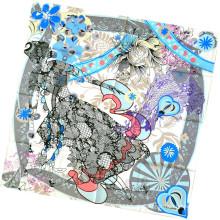 Damenmode Blume bedruckte Quadrat Seidenschal (L-1)