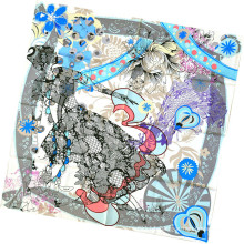 Women Fashion Flower Printed Square Silk Scarf (L-1)