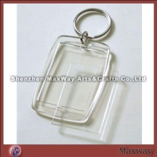 Rectangle transparent polished promotional acrylic/PMMA key chain/ring/holder with your picture or a
