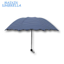 Navy Pongee Fabric Full Color Printed Pattern 3 Folded Rippled Edge Fashion Sun Umbrella Manufacture China