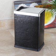 Leather Covered Stainless Steel Top Push Dustbin (GA-10LC)