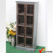 Sala de estar vintage rústico branco madeira vidro exibir gabinete