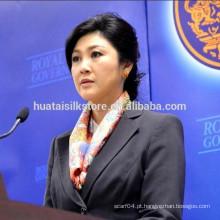 2014 Nova Tailândia Primeiro Ministro Flower Square Pure Silk Lady Scarf