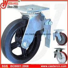 Roulette d'échafaudage à plaque supérieure standard de 8 pouces avec roue en caoutchouc