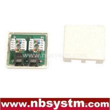 Cat5e PCB caja de montaje de superficie de doble puerto