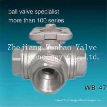 Válvula de esfera de 3 vias da porta L / T 1000wog