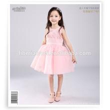 Vestido de fiesta de suministro directo de la fábrica de color rosa sin mangas hasta la rodilla vestido de niña 2-10 años