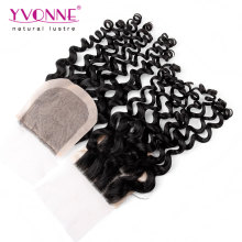 Encerramento da base de seda do cabelo humano brasileiro encaracolado cabelo virgem