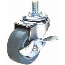Threaded Stem PU Furniture Caster com travão (cinza)