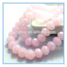 Pink jade color loose beads glass rondelle beads