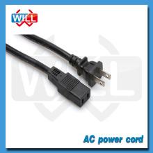 Homologación UL 2 pines EE.UU. y Canadá iec 60320 c14 cable de alimentación con enchufe moldeado