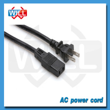 UL approval 2 pin USA &Canada iec 60320 c14 power cord with molded plug