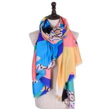 Fashion women shawl soft cotton animal Printed geometric pattern Viscose women scarf