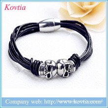 New double skulls magnetic clasp titanium steel braided bracelet