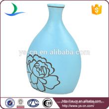2015 hot sale YSv0179-01 matt blue vase with floral