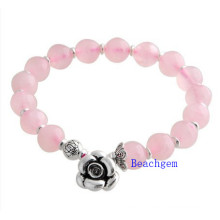 Natural Rose Quartz Beads Bracelet with Silver Charm (BRG0015)