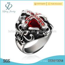 Prata anel de cruz lateral, prata punk anel de cruz para os homens